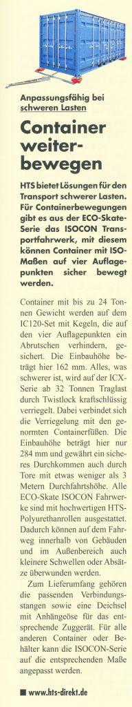 Betriebstechnik 6/7 2015 - HTS - Anpassungsfähig bei schweren Lasten - Container weiterbewegen