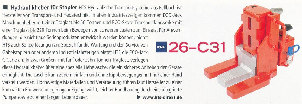 DHF Intralogistik 05/2014 - HTS - Hydraulikheber für Stapler