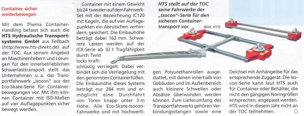 Hebezeuge Fördermittel 5/2015 - HTS - Container sicher weiterbewegen