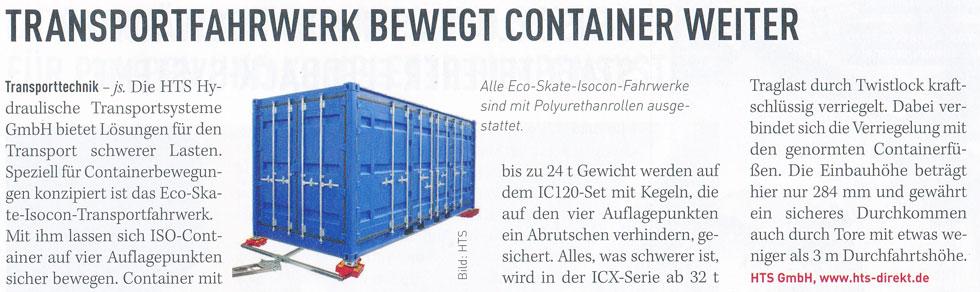 MM Maschinenmarkt 19/2015 - HTS - Transportfahrwerk bewegt Container weiter