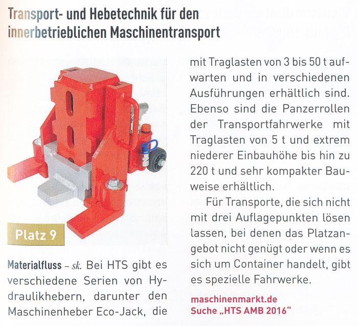 MM Maschinenmarkt - Produkte des Jahres - Dezember 2016 - HTS - Transport- und Hebetechnik für den innerbetrieblichen Maschinentransport
