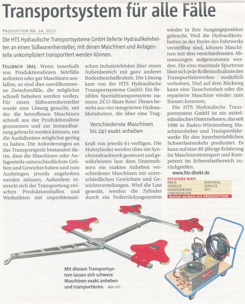 Produktion 24/2013 - Transportsystem für alle Fälle