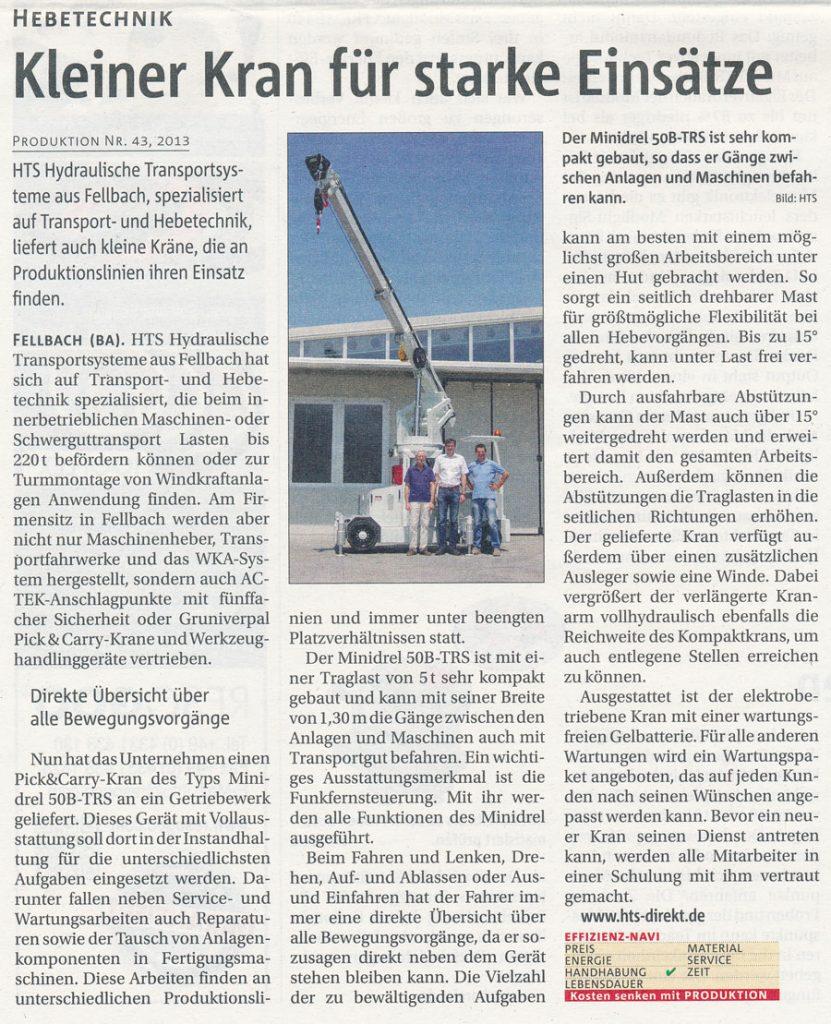 Produktion 43/2013 - HTS und Gruniverpal - Kleiner Kran für starke Einsätze
