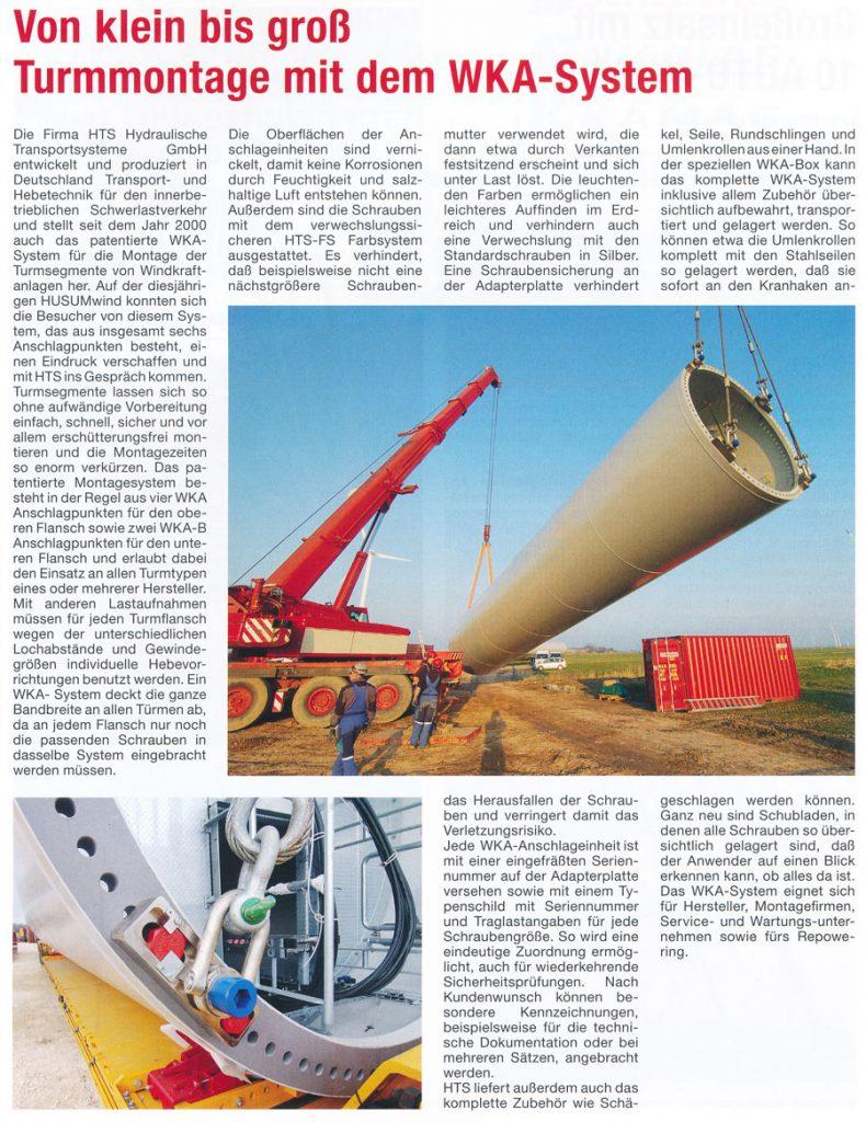 ROAD Journal 03/2015 - HTS - Turmmontage mit dem WKA-System